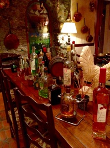 Table of bottles of genepi, saint martin vesubie