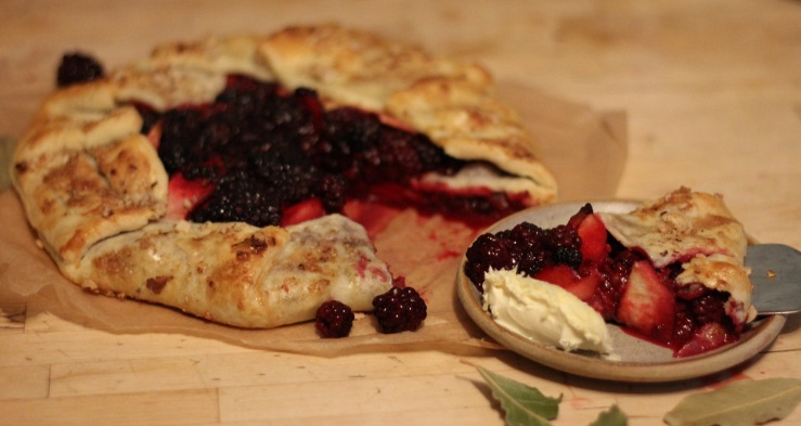 Blackberry and bay galette with cream